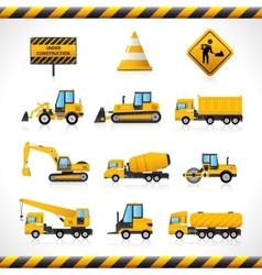 Construction machines set vector