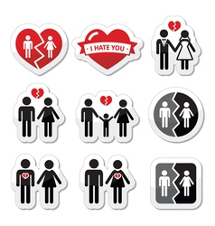 Couple breakup divorce broken family icon vector image