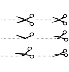 Cutting scissors and line points vector