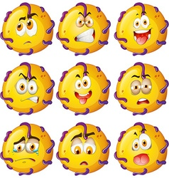 Yellow critter with facial expressions vector