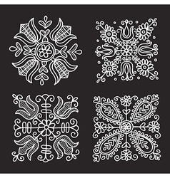 Rectangular floral folk ornament vector
