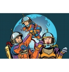 Retro astronauts family dad mom and child vector