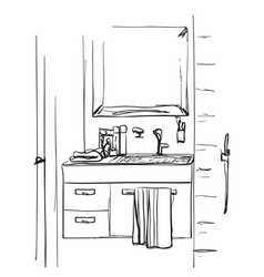 Bathroom interior sketch hand drawn washbasin and vector