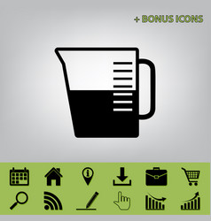 Beaker sign black icon at gray background vector