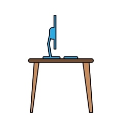 Blue laptop desk workplace job graphic vector