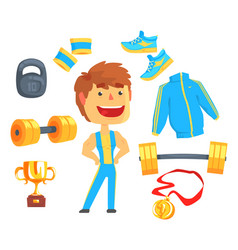 Bodybuilder muscular man set for label design vector