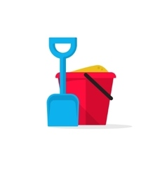 Bucket and spade with sand vector