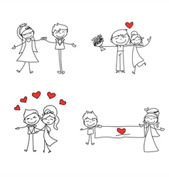 cartoon character happy lovers wedding vector image vector image