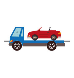 Color silhouette with tow truck vector