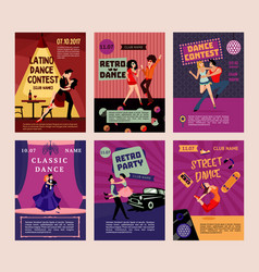 Colorful dancing people posters vector