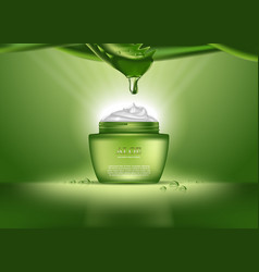 cosmetics bottle or container with aloe vera cream vector image