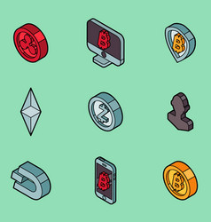 Cryptocurrency outline isometric icons vector