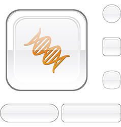 Dna white button vector