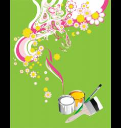 floral background with paintbrushes vector image vector image