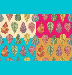 Funny seasonal seamless leaf textures set vector