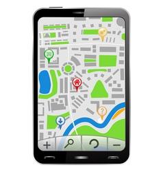 gps navigator in smartphone vector image vector image