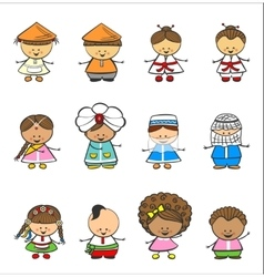 Happy children of different national suits vector