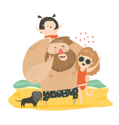 Happy family at the beach vector