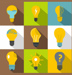 Idea ligh bulb icons set flat style vector
