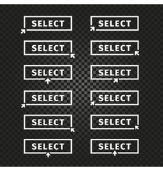Isolated white word select in frame on black vector