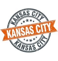 Kansas city red round grunge vintage ribbon stamp vector