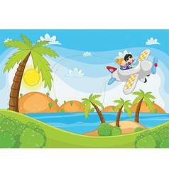 Kids flying by plane vector image vector image
