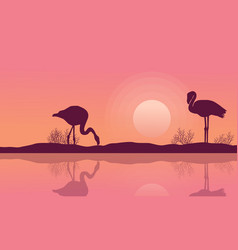 Lake landscape with flamingo silhouette vector