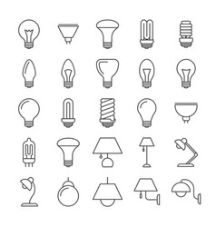 Lamp and light bulbs line icons collection vector