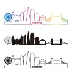 London v2 skyline linear style with rainbow vector