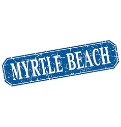 Myrtle beach blue square grunge retro style sign vector