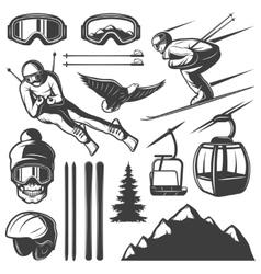 Nordic skiing elements set vector