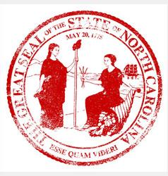 north carolina seal rubber stamp vector image vector image