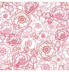 Poppy flowers line art seamless pattern background vector