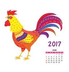 Roosters calendar june vector