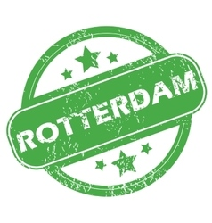 Rotterdam green stamp vector