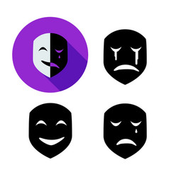 Set of emotion mask in silhouette style vector