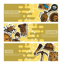 Set of Horizontal Banners about archeology vector image vector image