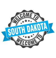 south dakota round ribbon seal vector image