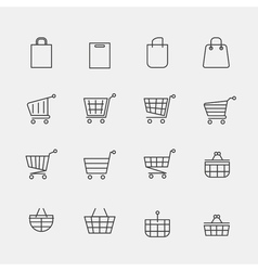 store bags signs or lined shopping basket modern vector image vector image