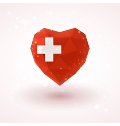 Swiss flag in shape diamond glass heart vector
