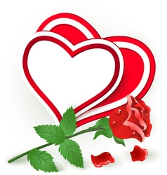 Two red hearts and rose vector image