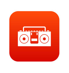 Vintage tape recorder icon digital red vector