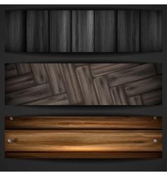 Wooden grey banner vector