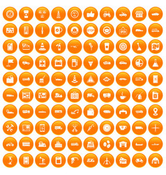 100 gas station icons set orange vector