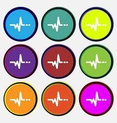 Pulse icon sign nine multi colored round buttons vector