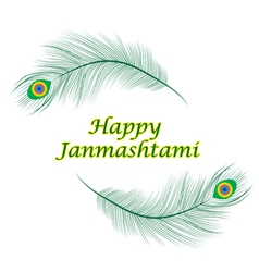 Happy janmashtami indian feast of the birth of kri vector