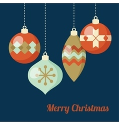 Retro christmas greeting card invitation hanging vector
