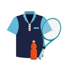 Tshirt bottle water and racket tennis icons vector