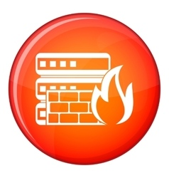 Database and firewall icon flat style vector