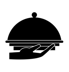 hand tray catering service pictogram vector image